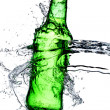 Beer bottle splash — Stock Photo
