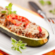 Zucchini halves stuffed with minced meat — Stock Photo #13360002