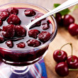 Bowl of cherry jam - Stock Photo