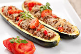 Zucchini halves stuffed with minced meat — Stock Photo