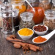 Spice collection isolated on a wooden table — Stock Photo #19032957