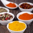 Stock Photo: Spices Curry, Peppers Mix and paprika