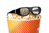 Popcorn and 3d glasses — 图库照片