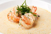 Shrimp in sauce — Stock Photo