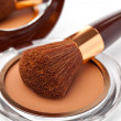 Makeup Powder and Brush — Stock Photo