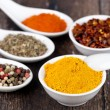 Spices Curry, Peppers Mix and paprika - Stock Photo