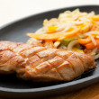 ������, ������: Grilled chicken breasts and noodles