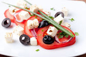 Tomato salad with feta and olives — Stock Photo