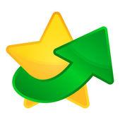 Golden vector star with arrow up — Stock Vector