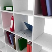 Book shelf with instruments for office — Stockfoto