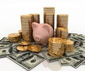 Piggy Bank and Dollar, Finance concept — Stock Photo