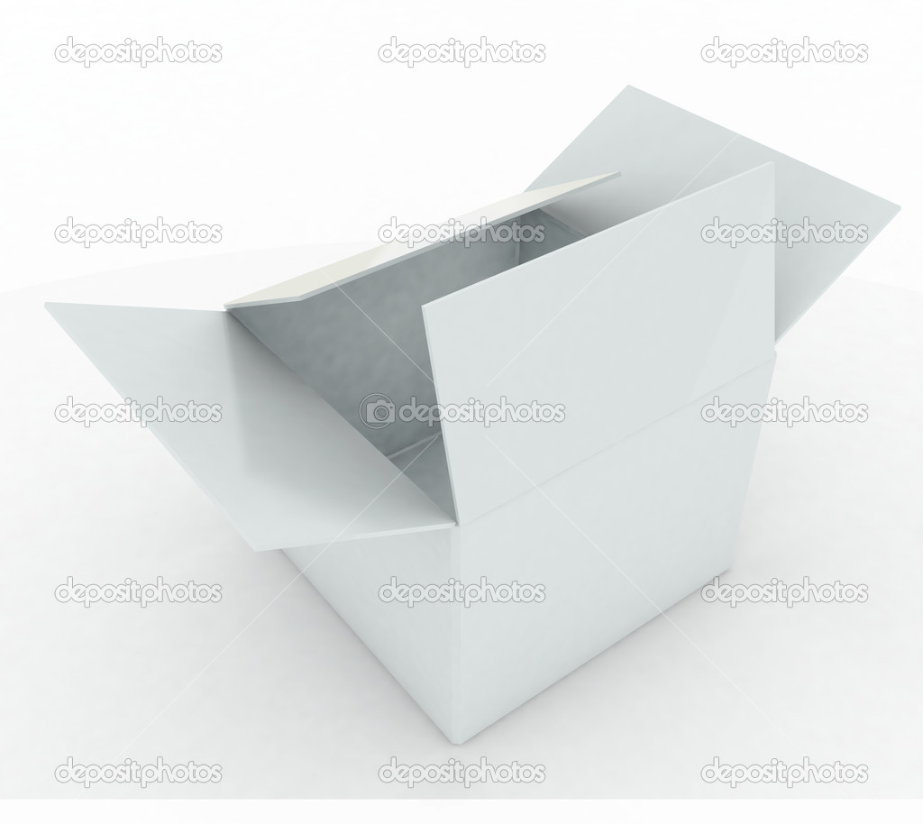 3d render white box opened — Stock Photo #13516865