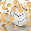 Alarm clock and money on white — 图库照片