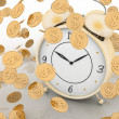 Alarm clock and money on white - Stock Photo