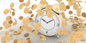 Alarm clock and money on white — Stock Photo