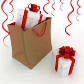 Illustration of box with gifts in the package — Stock Photo