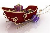 Natal trenó de papai noel com presentes em um fundo branco — Foto Stock