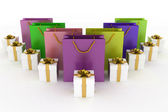 Boxes with gifts and multicolor paper bags on a white — Stock Photo