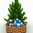 Stock Photo: Christmas Tree and Gifts on a white background