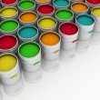 Open buckets with a paint — Stock Photo