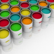 Stock Photo: Open buckets with a paint