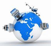 Vormen van vervoer op een wereldbol — Stockfoto