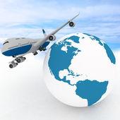 客机与地球在天空背景 — 图库照片