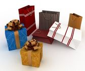 Boxes and bags for gifts — Stock Photo