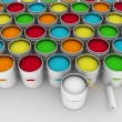 Open bucket with color paint and roller - Stock Photo