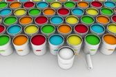 Open bucket with color paint and roller — Foto Stock