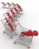 Concept of discount. Shopping carts full of percentage sale. — Stock Photo