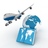 Airliner with globe in the white background — Stock Photo