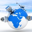 Types of transport on a globe in the sky background — Stock Photo #17374679