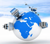 Types of transport on a globe in the sky background — Stock Photo
