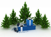 Christmas Trees and Gifts on a white background — Stock Photo