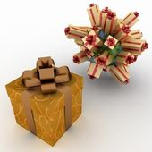 Gift boxes located on a globe and big box for gifts — Stock Photo