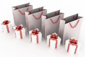 Kağıt çanta ve kutular hediye ile 3d çizimi — Stok fotoğraf