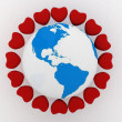 Stock Photo: Earth with hearts