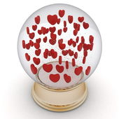 Snow globe with red hearts — Stock Photo