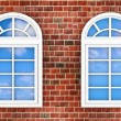 Windows on the brick wall — Stockfoto