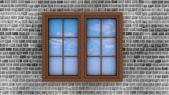 Plastic window on a brick wall — Stock Photo