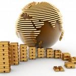 Gold globe with many gold bullions — Stock Photo