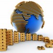 Gold globe with many gold bullions — Stock Photo