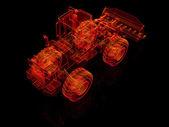 Bulldozer di modello 3d su sfondo nero — Foto Stock