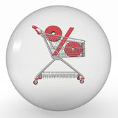 Crystal ball with shopping cart and percent inside — Stock Photo