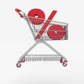 Shopping cart with sign of percentage inwardly. — Stock Photo