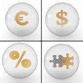 Set of symbols on financial business in transparent balls — Stock Photo
