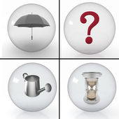 è un insieme di oggetti diversi in palline trasparenti — Foto Stock