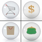 Set of different objects for a purchase in a shop in transparent balls — Stock Photo