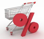 Shopping cart with sign of percentage inwardly — Stock Photo